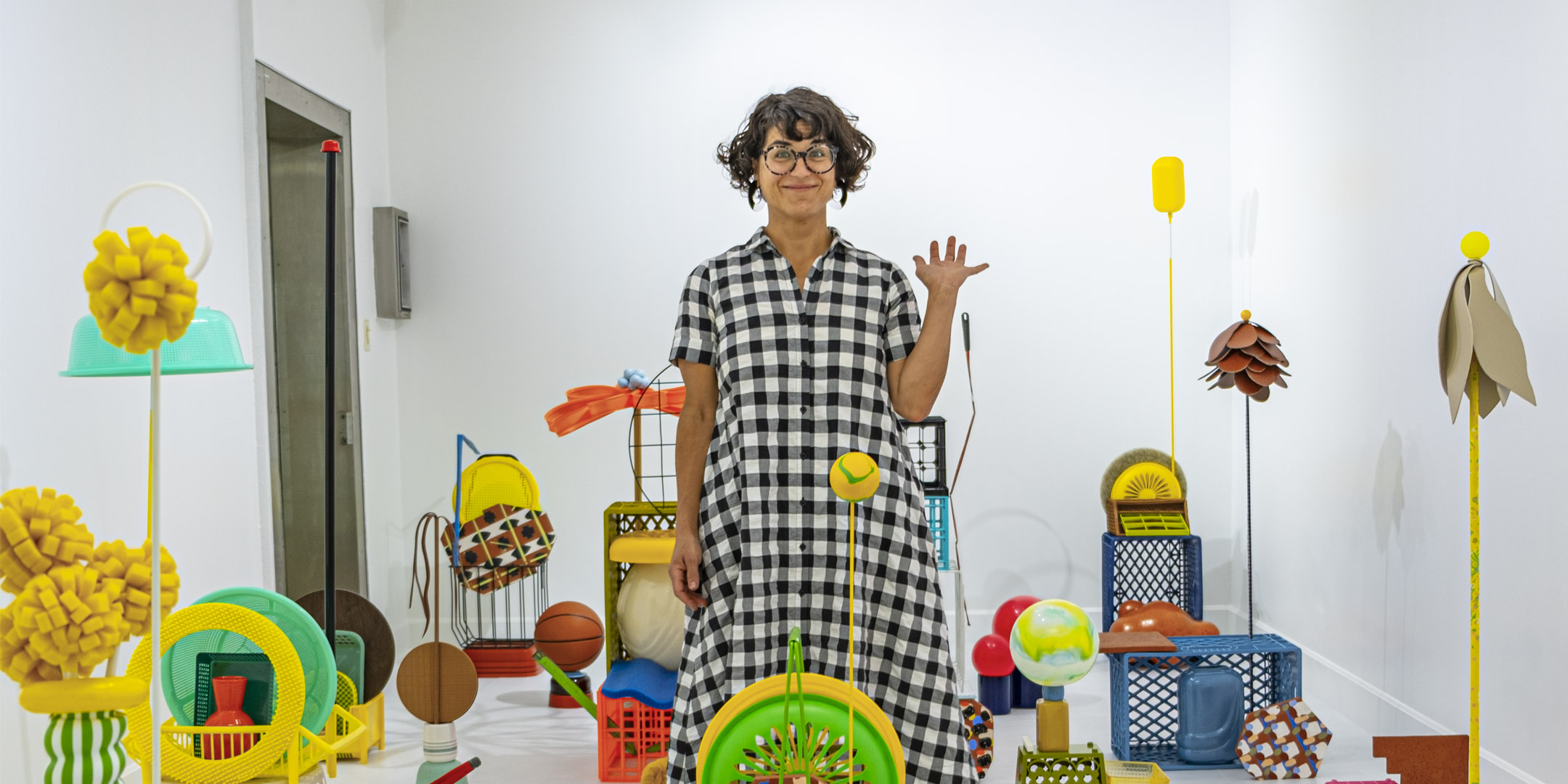 Pictured: Artist Amy Santoferraro standing in the middle of her installation.